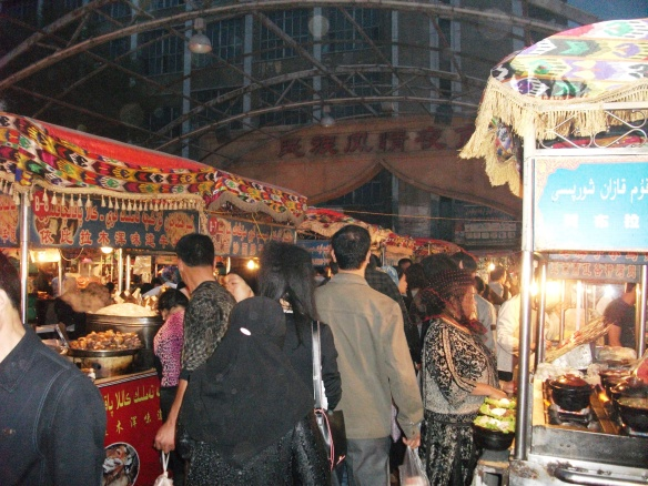 The Night Bazaar in the provincial capital of Urumqi. The whole area has a distinct central Asian influence, and the distinct ethnic group of the Uyghur people.