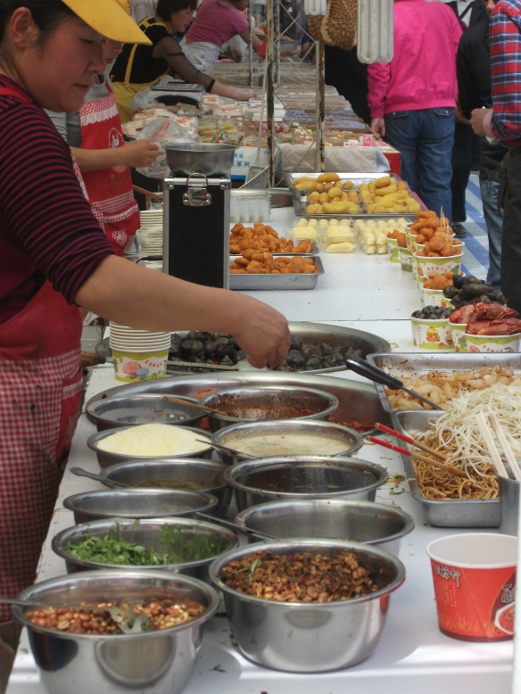 Food stalls in the People's Park of Urumqi.