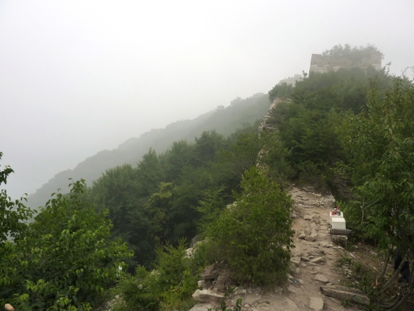 """Tantalising panoramic views"" promised by the Lonely Planet guidebook were pretty hampered by fog at the rural Jiankou (箭扣) section of the Great Wall."
