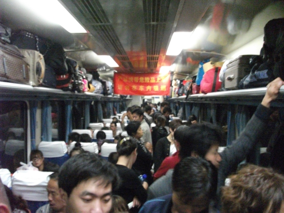 Not exactly the prettiest picture, but the experience of standing on a crowded overnight train during the National Holiday for 12 hours was pretty memorable, for the wrong reasons.