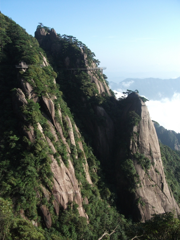 A path was carved onto the sheer cliff-face at Sanqingshan (三清山).