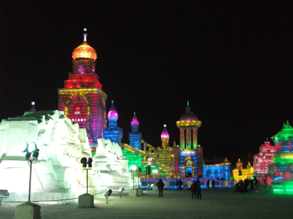 The Harbin Ice and Snow Festival (哈尔滨冰雪节). All these huge sculptures are carved out of ice by artists from all over the world.